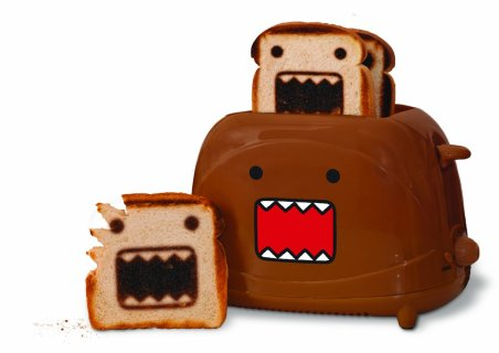 The Domo Toaster sells for $49 in Amazon. This prints designs on toasts.