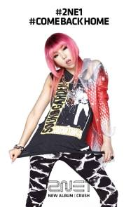 "Minzy's promotional poster for 2NE1's latest album, ""Crush,"" and the album's single, ""Come Back Home"""